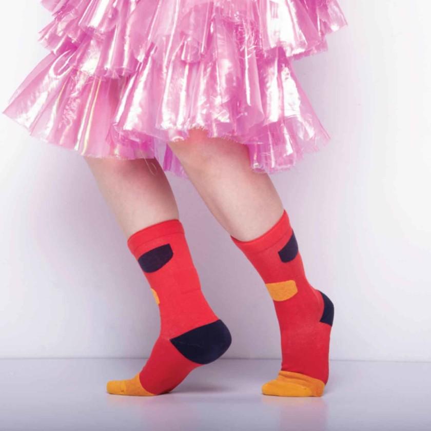 My Inner Beauty : JIWA | Reversible Patterned Socks (Red & Reebok Gold)