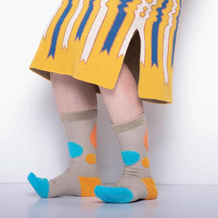 My Inner Beauty : HATI | Reversible Patterned Socks (Khaki & Blue Atoll)
